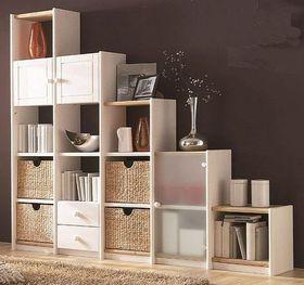 Stufenregal Massivholz Bücherregal weiß Systemregal links Kiefer 001