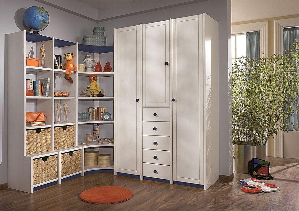 Kinderzimmer-Schrankwand Vollholz massiv weiß Kleiderschrank Kiefer – Bild 2