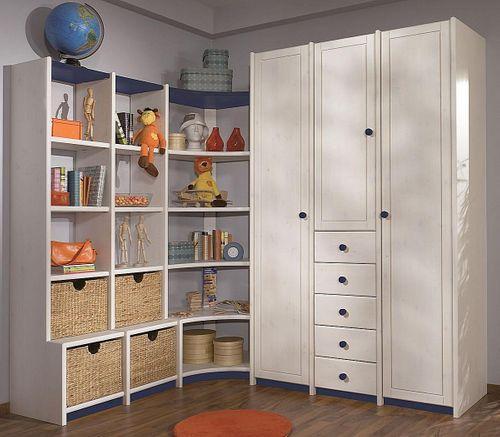 Kinderzimmer-Schrankwand Vollholz massiv weiß Kleiderschrank Kiefer – Bild 1