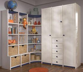 Kinderzimmer-Schrankwand Vollholz massiv weiß Kleiderschrank Kiefer 001