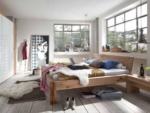 Massivholz Baumkanten-Doppelbett 180x200 Wildeiche Bianco geölt – Bild 3