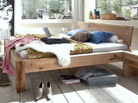 Massivholz Baumkanten-Doppelbett 180x200 Wildeiche Bianco geölt 001