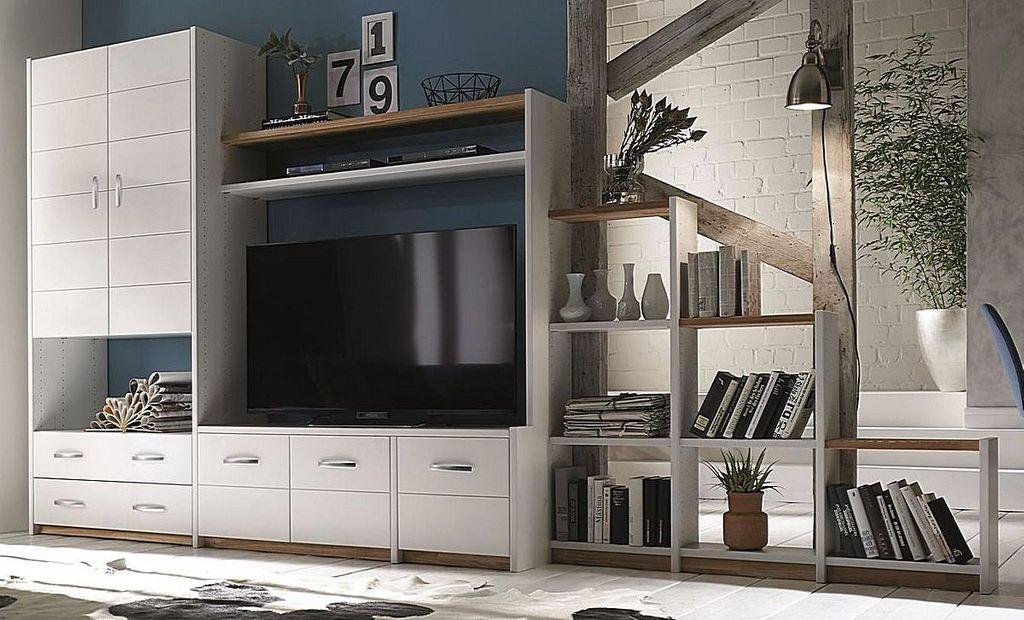 Schrankwand Massivholz Wohnwand weiß Wohnzimmerschrank Eiche Buche – Bild 1