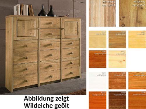 Highboard CONTRA 136x122x33cm Vollholz Wohnzimmerschrank Eiche Buche Kiefer – Bild 1