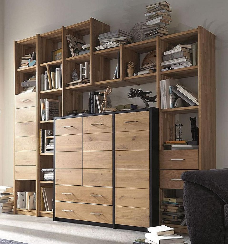 Regalwand Vollholz Bücherregal Büroregal Systemregal Wildeiche geölt – Bild 1