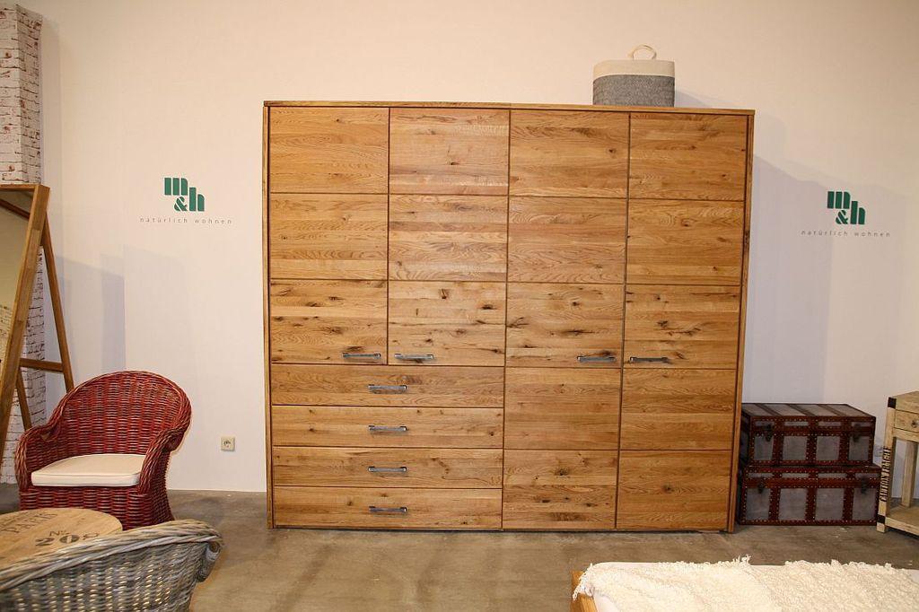 Massivholz Kleiderschrank 240x219x60cm 4trg. Wildeiche massiv geölt – Bild 3