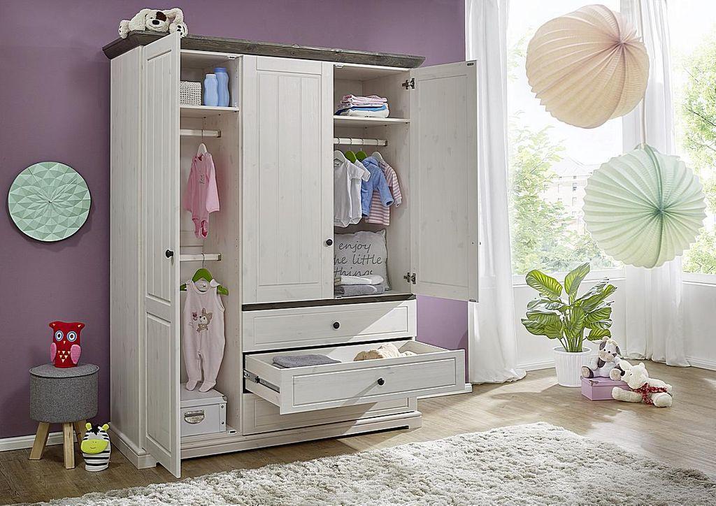 Babyzimmer 6teilig Kiefer Massiv 2farbig Weiss Grau Gewachst