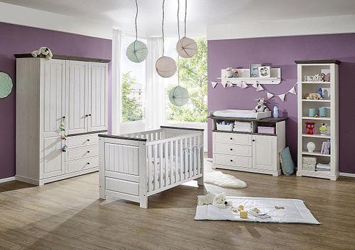 Babyzimmer komplett Kiefer massiv Kinderzimmer Vollholz weiß grau – Bild 1