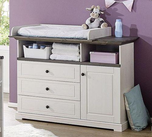 Babyzimmer komplett Kiefer massiv Kinderzimmer Vollholz weiß grau – Bild 5