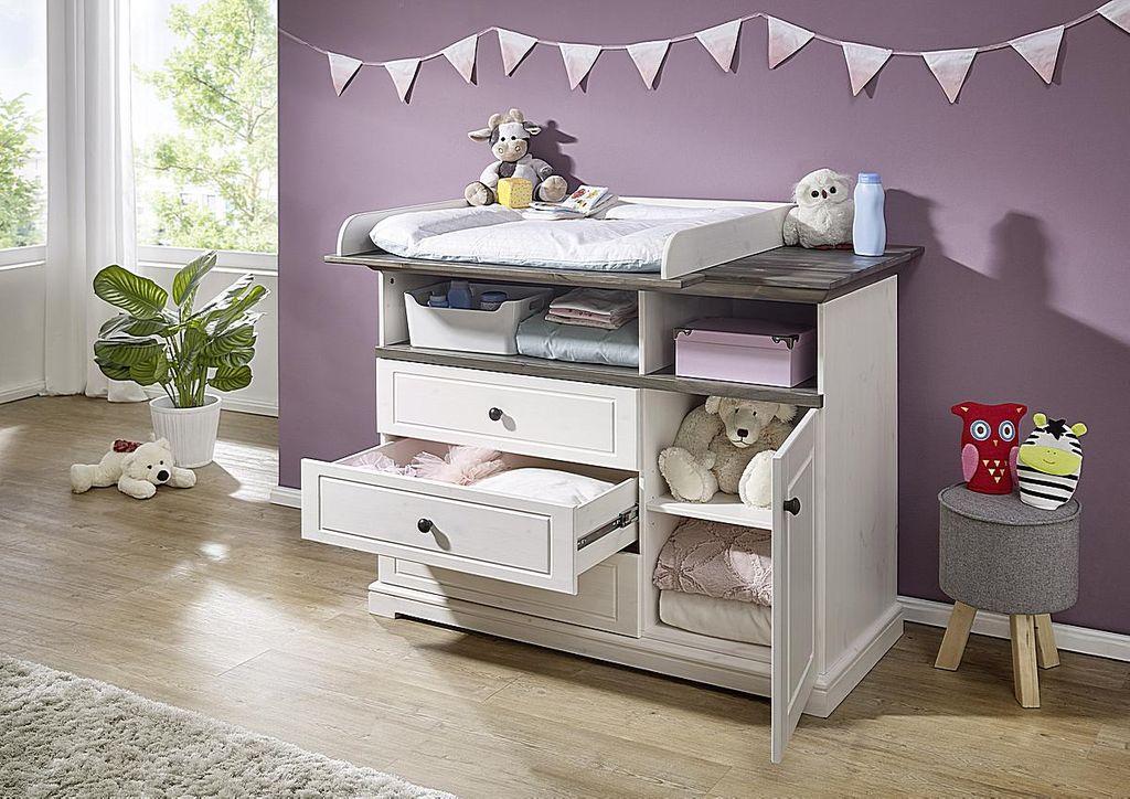Babyzimmer-Set Kiefer massiv Babybett Wickelkommode Vollholz weiß grau – Bild 3