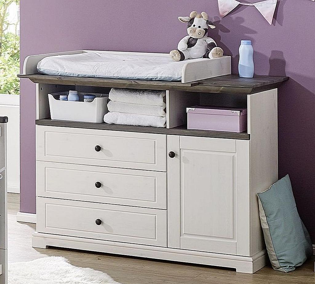 Babyzimmer-Set Kiefer massiv Babybett Wickelkommode Vollholz weiß grau – Bild 2