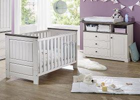 Babyzimmer-Set Kiefer massiv Babybett Wickelkommode Vollholz weiß grau 001