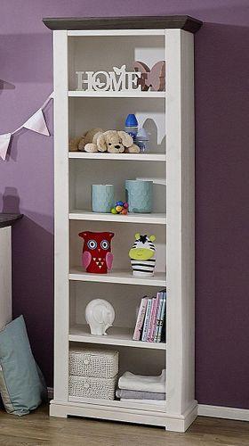 Babyzimmer-Regal  Kiefer massiv Standregal Vollholz 2farbig weiß grau – Bild 1