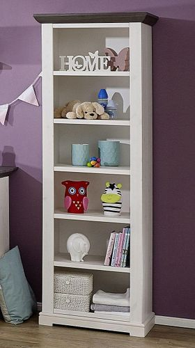 Babyzimmer-Regal Kiefer massiv Standregal Vollholz 2farbig weiß grau