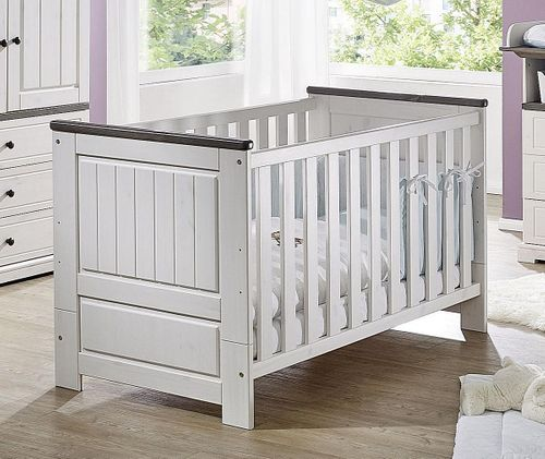 Babybett 70x140 Kiefer massiv Gitterbett Kinderbett Vollholz weiß grau – Bild 1