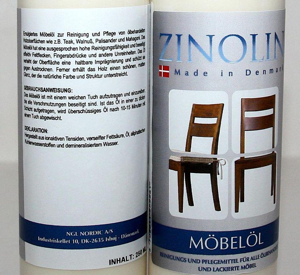 Zinolin Möbel-Öl 250ml Möbelpflegeöl Teak Walnuss Palisander Mahagoni – Bild 6