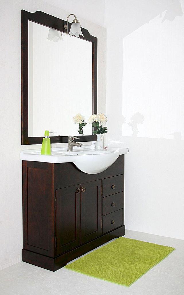 Badmöbel-Set 4teilig nussbaum Farbe italienischer Waschtisch massiv – Bild 1