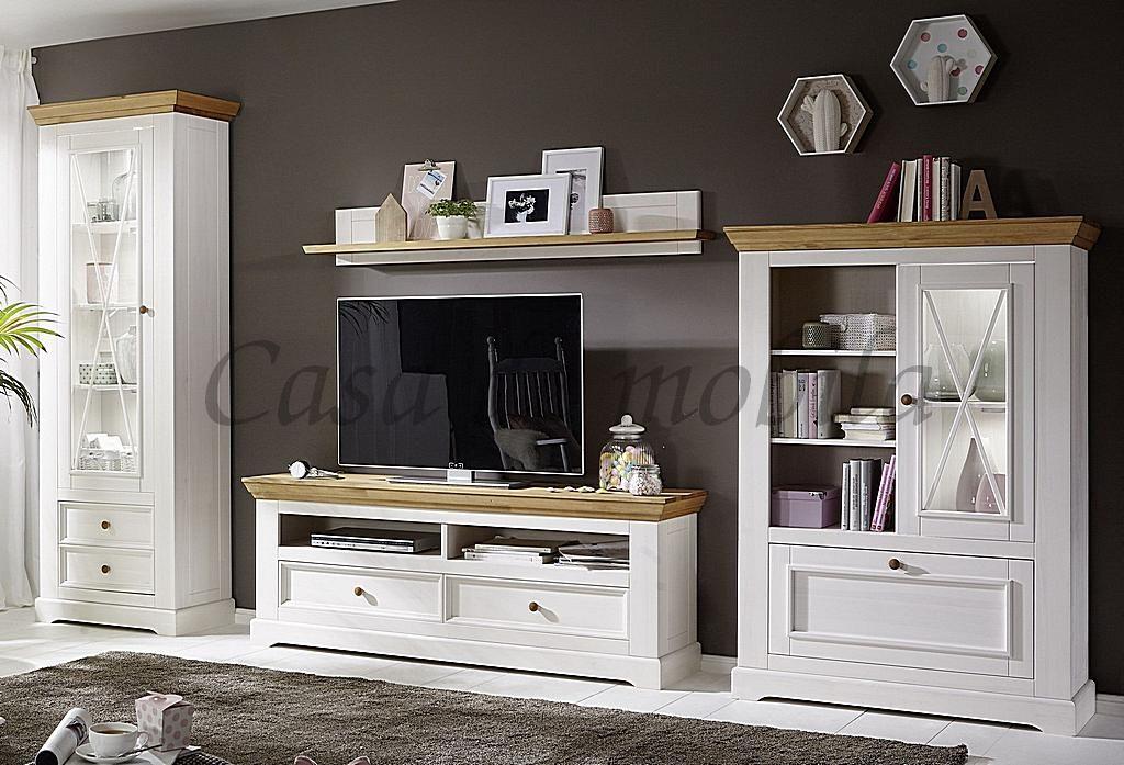massivholz wohnwand 4teilig wei eichefarben kiefer massiv. Black Bedroom Furniture Sets. Home Design Ideas