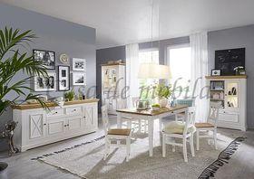 Esszimmer komplett FLAIR 10teilig Kiefer massiv Landhaus weiß eichefarben 001