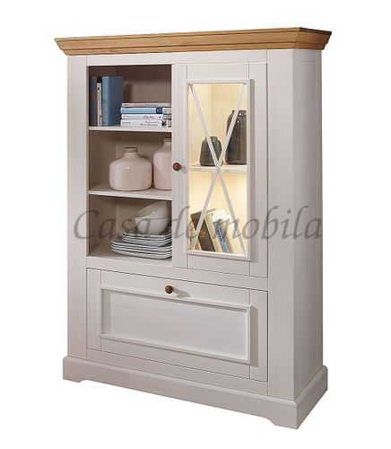 Highboard FLAIR 108x152x42cm Kiefer Esszimmerschrank Vitrine massiv Landhausstil weiß – Bild 5