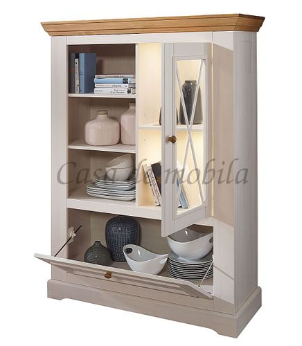 Highboard FLAIR 108x152x42cm Kiefer Esszimmerschrank Vitrine massiv Landhausstil weiß – Bild 6