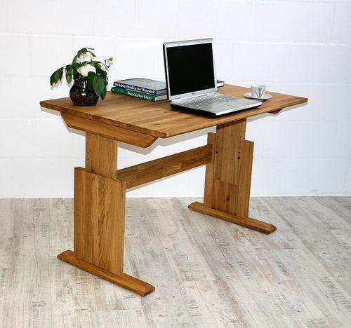 Schreibtisch 120x80cm Eiche massiv höhenverstellbar Bürotisch geölt – Bild 1