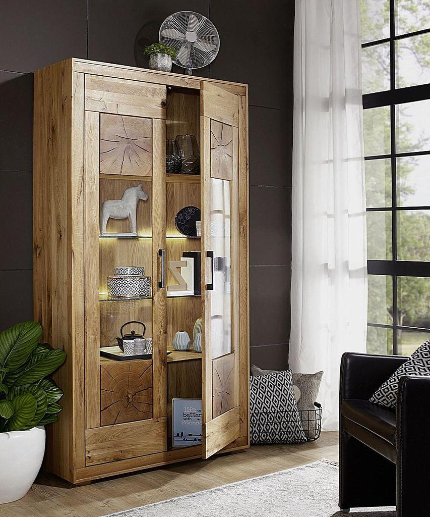 Wohnzimmer 5teilig, Wildeiche massiv geölt, Hirnholz-Elemente