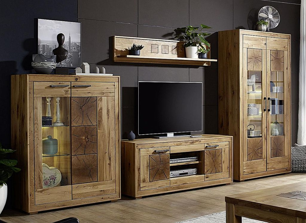 wohnwand 4teilig wildeiche massiv ge lt hirnholz elemente. Black Bedroom Furniture Sets. Home Design Ideas