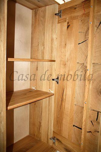 Anbauwand RUSTIC 4teilig Wohnwand Wildeiche massiv geölt Hirnholz – Bild 7