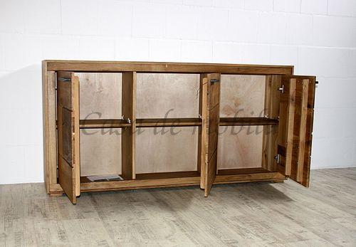 Sideboard RUSTIC 3türig Wildeiche massiv geölt Kommode Anrichte Hirnholz – Bild 2