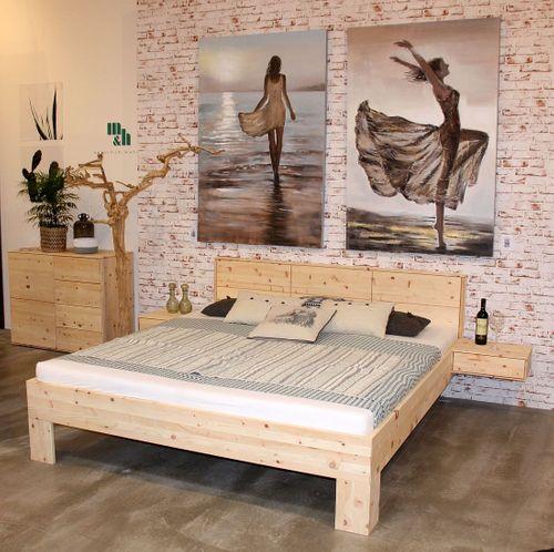 Massivholz Bett 160x200 Zirbe Natur – Bild 3