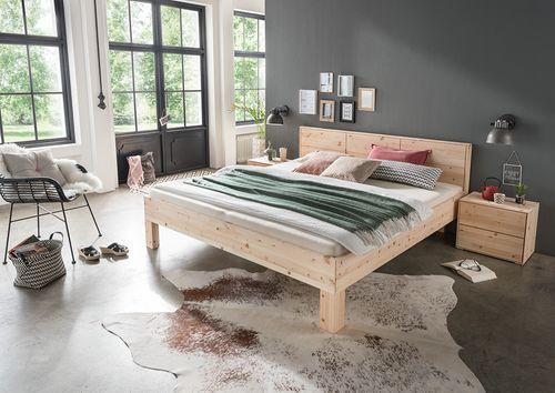 Massivholz Bett 160x200 Zirbe Natur – Bild 2