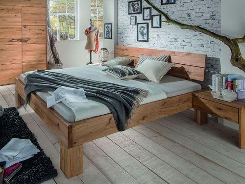 Massivholz Bett 140x200 Wildeiche geölt rustikal – Bild 1