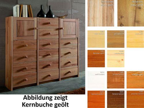 Highboard CONTRA 136x121x33cm Massivholz Wohnzimmerschrank Buche Eiche Kiefer – Bild 1