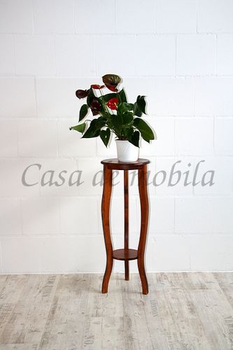Blumensäule Dekosäule 80cm Massivholz Kirschbaumfarbe – Bild 2