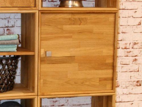 Regal Würfel mit Tür Wildeiche massiv 50x50x35 cm Natur geölt – Bild 1