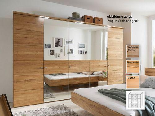 Schrank 4 türig massiv 240x216x60 Kleiderschrank mit Spiegel – Bild 1