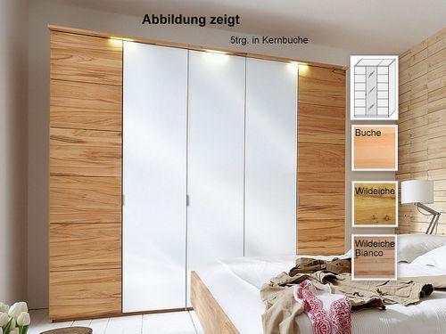 Kleiderschrank massiv Weißglas 3trg. 143x216x60  – Bild 1