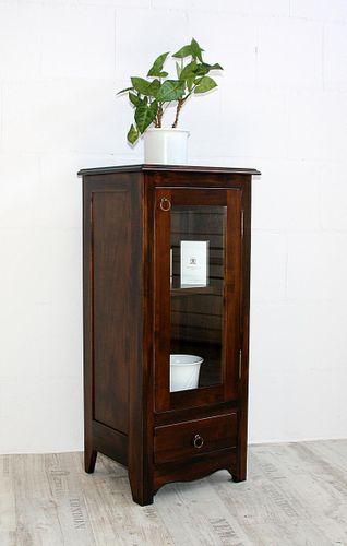 Vitrine Standvitrine Vitrinenschrank Holz massiv braun nussbaumfarben – Bild 2
