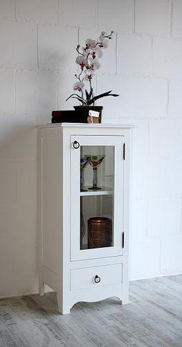Badschrank Vitrine Standvitrine Holzschrank massiv weiß lackiert – Bild 1