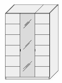 Kleiderschrank massiv Braunglas 3trg. 143x216x60  – Bild 5