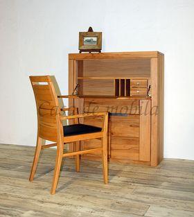 Sekretär 102x120x40cm, 2 Türen, 1 Schublade, 1 Klappe, Rohstahlgriffe, Kernbuche massiv geölt