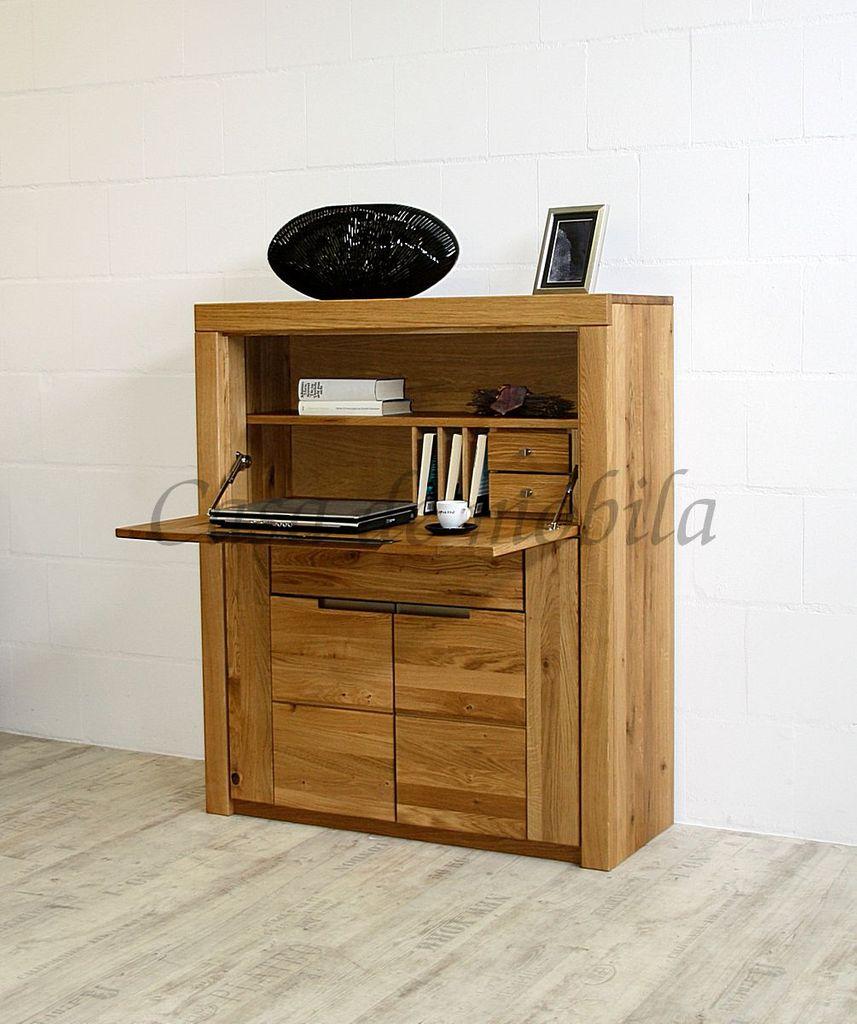 Sekretär 102x120x40cm 2 Türen 1 Schublade 1 Klappe Wildeiche Massiv