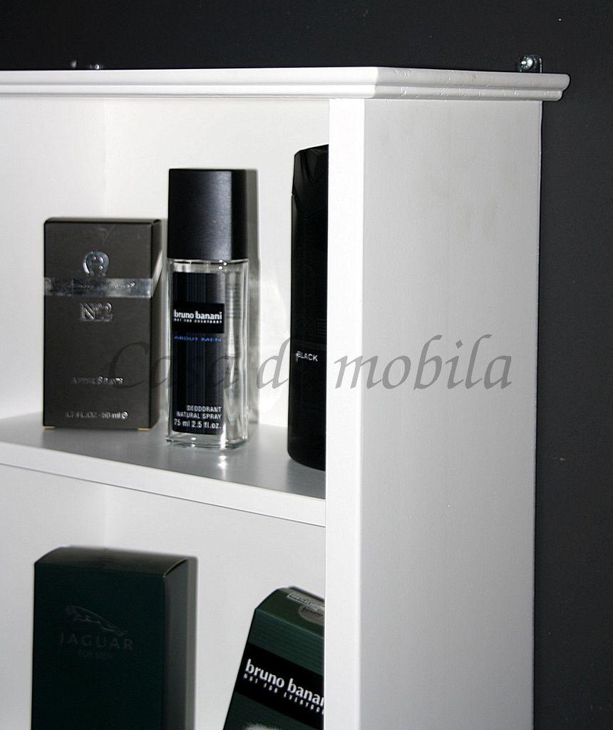 h ngevitrine 38x62x18cm 1 glast r pappel massiv wei lackiert. Black Bedroom Furniture Sets. Home Design Ideas