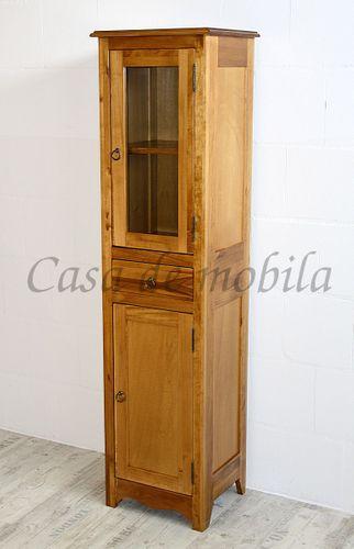 Badezimmerschrank Badhochschrank Badschrank Massivholz Honigfarbe – Bild 9