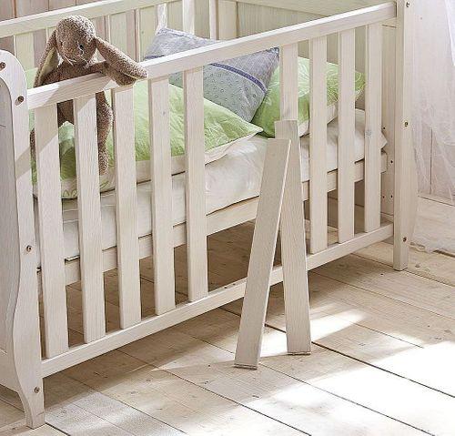 Babybett weiß Gitterbett Kinderbett Kiefer massiv Holz Landhausstil – Bild 2