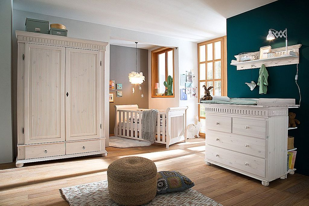 babybett 70x140 mit juniorbett seiten kiefer massiv wei. Black Bedroom Furniture Sets. Home Design Ideas