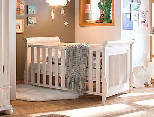 Babybett Juniorbett weiß Gitterbett Kiefer massiv Holz Kinderbett – Bild 1
