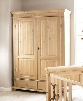 Kleiderschrank 138x199x62cm, 2 Holztüren, 2 Schubladen, Kiefer massiv antik brush