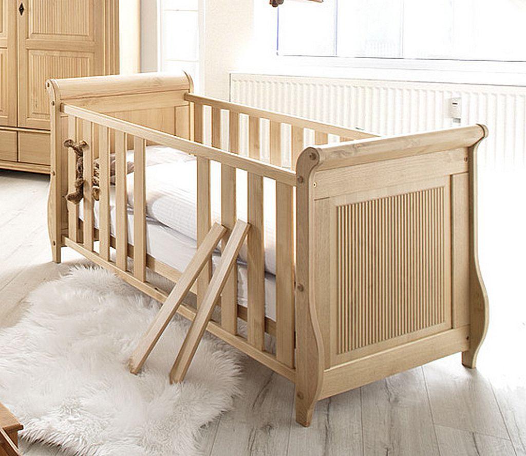 Babyzimmer-Set 8teilig komplett Kiefer massiv Holz antik lackiert – Bild 3